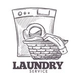 Laundry room open daily everyday public service vector. Monochrome sketch outline of basket filled with clothes and towels need to be washed. Domestic stock illustration