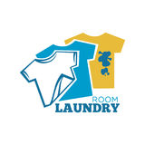 Laundry room promotional logotype with T-shirts Royalty Free Stock Images