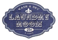 Laundry Room Sign Plaque Vintage. French Washer Dryer Coin Operated 25 cents Wash & Dry Cloths royalty free illustration
