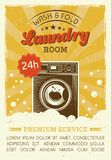 Laundry room vector poster with washing machine. Laundry room vector poster in retro style with washing machine, foam and bubbles, and grunge textures. Laundry Stock Photography