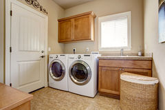 Laundry room with washer and dryer. Stock Images