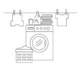 Laundry room for washing and drying items. Laundry room with washing machine, linens and laundry facilities. Laundry room in the style of the line. Vector stock illustration