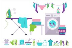 Laundry room, washing machine, basket, iron, ironing board, clothes drying, cleaning supplies vector Illustrations on a. Laundry room, washing machine, basket stock illustration