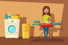 Laundry room with washing machine and housewife. Cartoon vector illustration Stock Photos