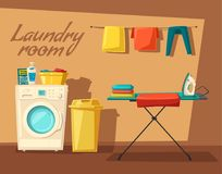 Laundry room with washing machine and housewife. Cartoon vector illustration Royalty Free Stock Photos