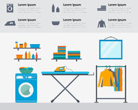 Laundry room. With washing machine, ironing board, clothes rack with things, facilities for washing, washing powder and mirror. Flat style vector illustration Royalty Free Stock Photography