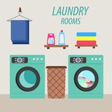 Laundry room with washing machine and laundry basket. Vector illustration vector illustration