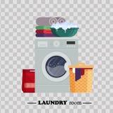 Laundry room with washing machine, powder, basket, basin, underwear on transparent background. Household equipment for. Washing - flat vector illustration Royalty Free Stock Images