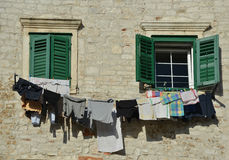 After laundry - scene in old town Royalty Free Stock Images