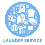 Laundry service banner illustration with flat glyph icons. Dry cleaning equipment, washing machine, clothing shoe. Leather repair, garment, shirts. Circle Royalty Free Stock Photos