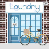 Laundry service. Banner with the word laundry and bubbles. Vector illustration Stock Images