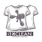 Laundry service be clean, dirty tshirts washing logotype. Laundry service be clean, dirty tshirts washing isolated logotype vector. Monochrome sketch outline royalty free illustration