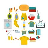 Laundry service icons set, flat style. Laundry service icons set. Flat illustration of 25 laundry service vector icons for web Stock Photography