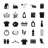 Laundry service icons set, simple style. Laundry service icons set. Simple illustration of 25 laundry service vector icons for web Stock Photo