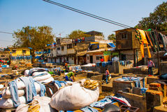 Laundry service in India. Laundry, dry things on the clothesline. Mumbai. Royalty Free Stock Photography