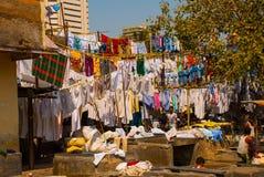 Laundry service in India. Laundry, dry things on the clothesline. Mumbai. Stock Photo