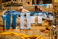 Laundry service in India. Laundry, dry things on the clothesline. Mumbai. Stock Photos