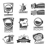 Laundry service or laundromat vector labels templates of washing machine soap bubbles. Laundry service or laundromat logo templates set. Vector labels of washing Royalty Free Stock Photo