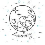 Laundry service logo badge. Soap bubbles icon. Royalty Free Stock Image