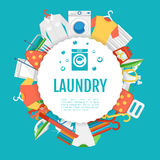 Laundry service poster design. Icons circle label with text Royalty Free Stock Photos