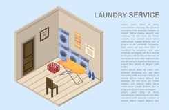 Laundry service room concept background, isometric style. Laundry service room concept background. Isometric illustration of laundry service room vector concept royalty free illustration