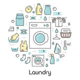 Laundry Service Thin Line Icons Set with Laundrette Stock Image