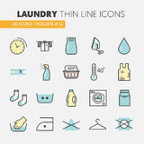 Laundry Service Thin Line Icons Set with Laundrette Elements. Laundry Service Thin Line Vector Icons Set with Laundrette Elements royalty free illustration
