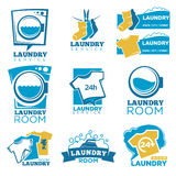Laundry service vector template icons set of linen, washing machine and detergent Royalty Free Stock Images