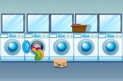Laundry shop full of washing machines. Illustration Royalty Free Stock Photos