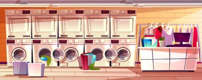 Laundry shop, laundromat room vector illustration. Laundry shop room interior vector illustration of laundromat public or self service. Modern dry clean counter vector illustration