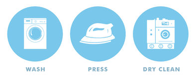 Laundry Symbols. For wash, press, and dry clean Stock Photo