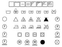 Laundry symbols black and white Stock Photo