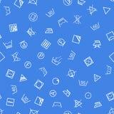 Laundry symbols on blue background seamless pattern Stock Photo