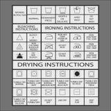 Laundry symbols. Icon set of laundry symbols, vector illustration Stock Images