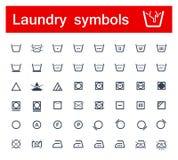 Laundry symbols. Set of laundry symbols. Vector Stock Photos