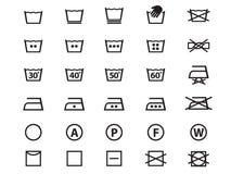 Laundry Symbols. Set of washing symbols (Laundry icons)  on white background in vector formate Royalty Free Stock Photos