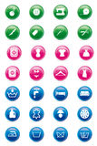 Laundry and tailoring icons. Set of mixed laundry and tailoring icons on glossy buttons stock illustration