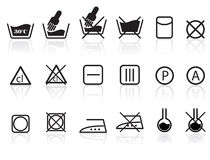 Laundry and Textile Care Symbols. Washing, Laundry and Textile Care Symbols Stock Photo