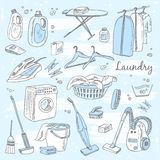 Laundry themed doodle set. Stock Photography