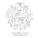 Laundry themed doodle set. Royalty Free Stock Images