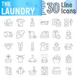 Laundry thin line icon set, clean symbols collection, vector sketches, logo illustrations, wash signs linear pictograms. Package isolated on white background stock illustration