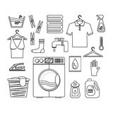 Laundry Thin Line Set. Vector. Laundry Black Thin Line Set. Washing and Ironing Housework for Web Design. Vector illustration Stock Images