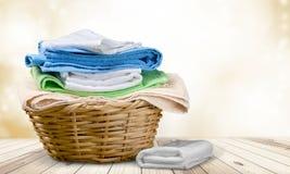 Laundry. Towel  Basket Basket Linen Clean Laundromat stock photos