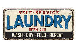 Laundry vintage metal sign. Laundry funny vintage rusty metal sign on a white background, vector illustration royalty free illustration