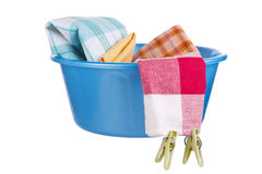 Laundry - wash-basin with clothes Royalty Free Stock Image