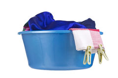 Laundry - wash-basin with clothes Stock Photography