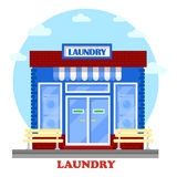 Laundry or washhouse building with wash machines Stock Images