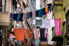 Laundry washing clothes drying in the streets of Istanbul, Turkey. Laundry washing clothes drying in the streets of Istanbul Turkey stock images