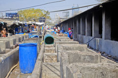 Laundry washing cubicles inside Dhobhi Ghat Royalty Free Stock Images