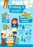 Laundry and washing home service vector poster. Laundry and washing service advertisement poster for clean home. Vector cartoon design of woman with cleaning stock illustration